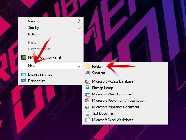 Komanda za kreiranje novog foldera u Windows 10 operativnom sistemu