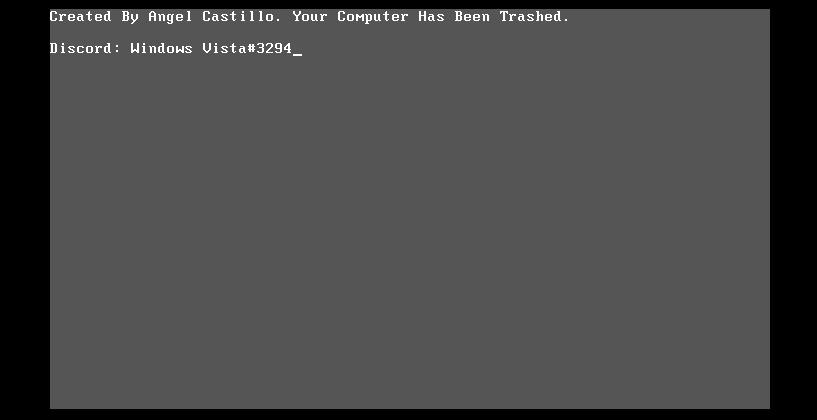 Korona računarski virus - poruka na ekranu nakon oštećenja MBR sektora