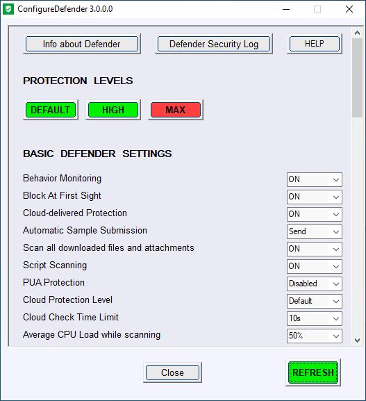 ConfigureDefender - Korisnički interfejs 1