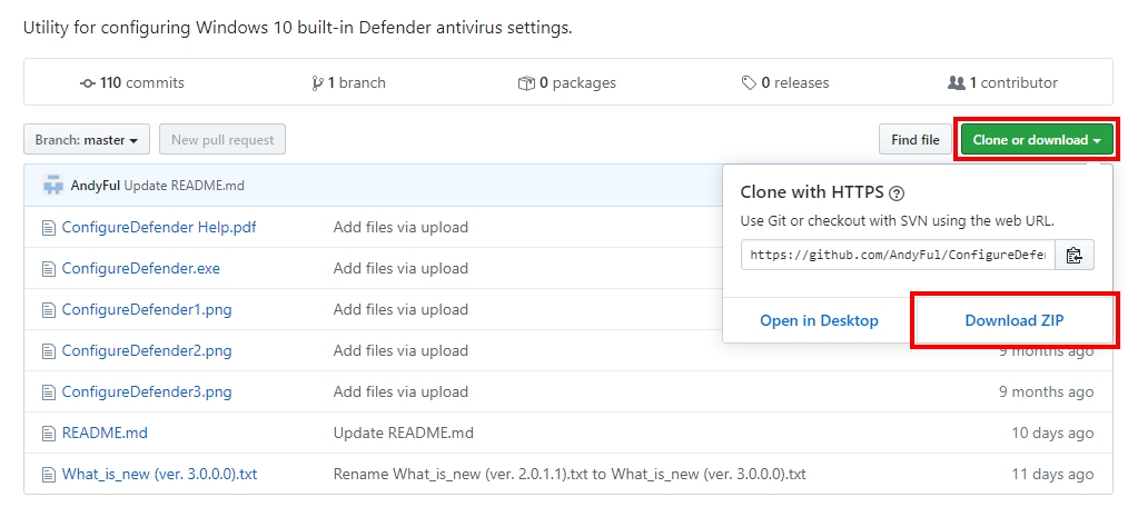 Preuzimanje ConfigureDefender programa