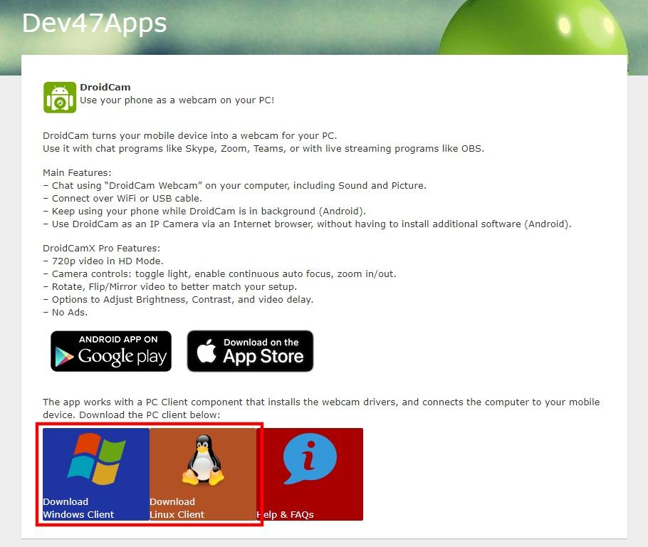 Stranica za preuzimanje DroidCam Client programa za Windows ili Linux operativni sistem