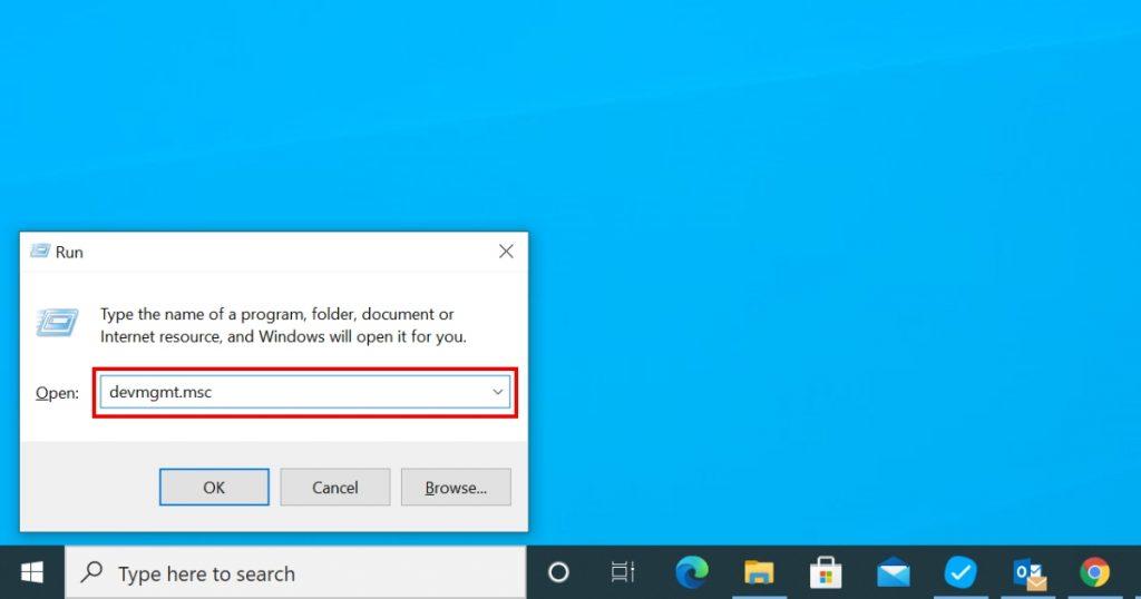 Pokrenite Device Manager pomoću Run komande