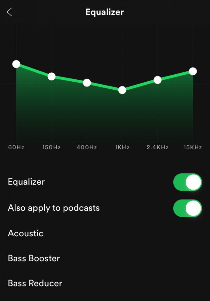 Podešavanje Spotify ekvilajzera - iOS