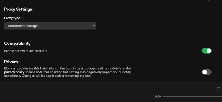 Spotify - Hardverska akceleracija