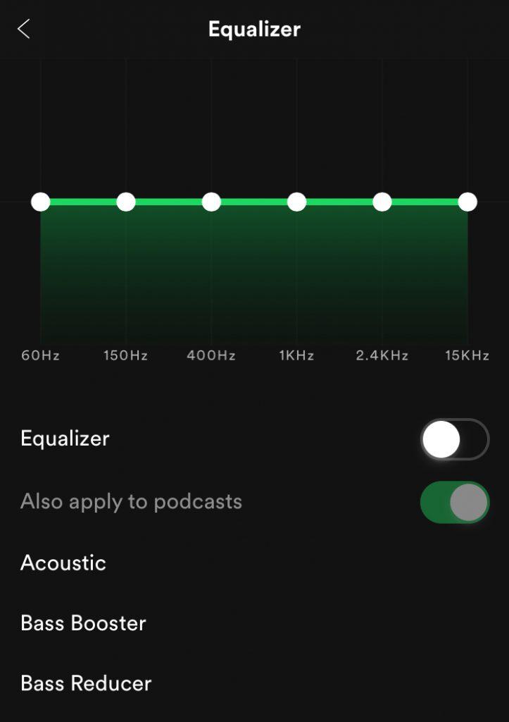 Uključivanje Spotify ekvilajzera - iOS