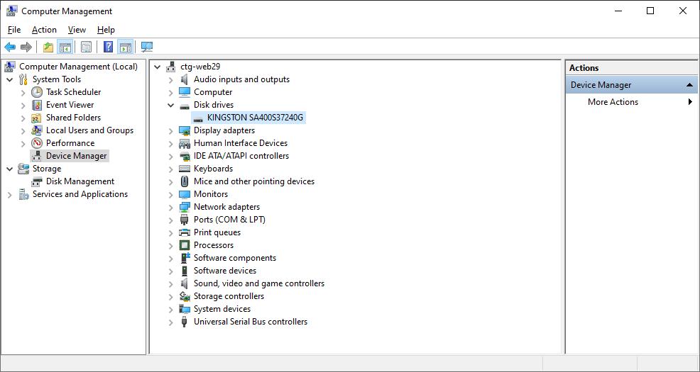 Device Manager - Disk Drives - Prikaz modela hard diska