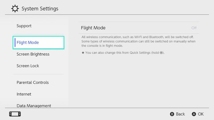 Nintendo Switch - Airplane Mode - On - Off