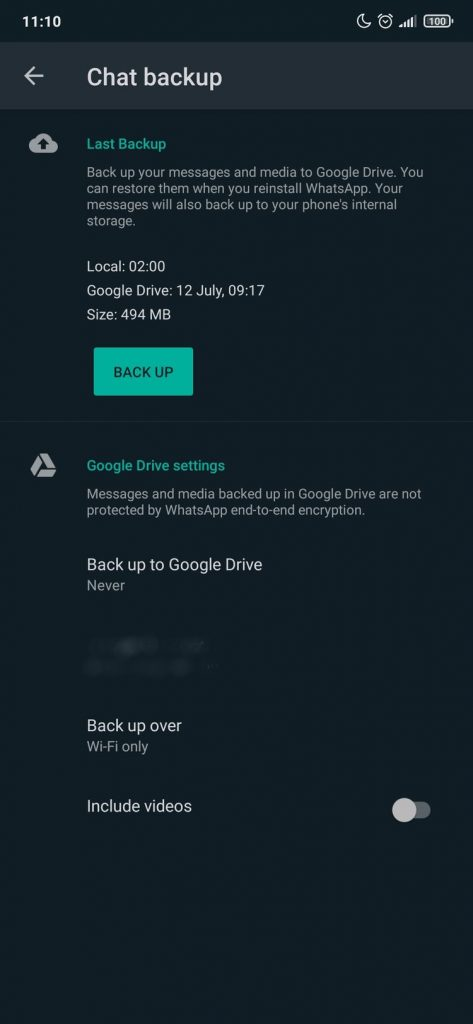 WhatsApp - Podešavanja - Backup podataka - Android - 3