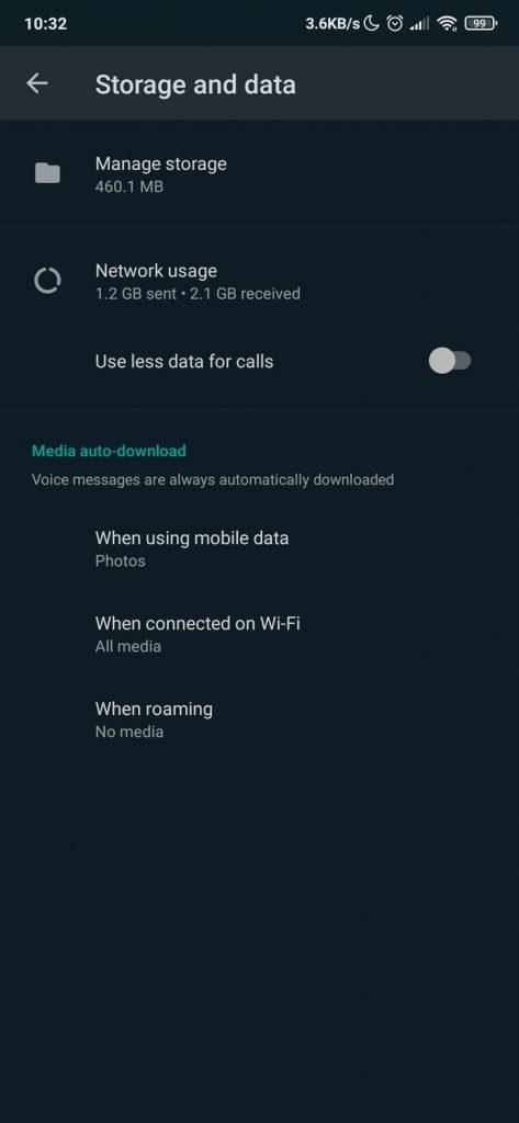 WhatsApp - Podešavanja - Storage and Data