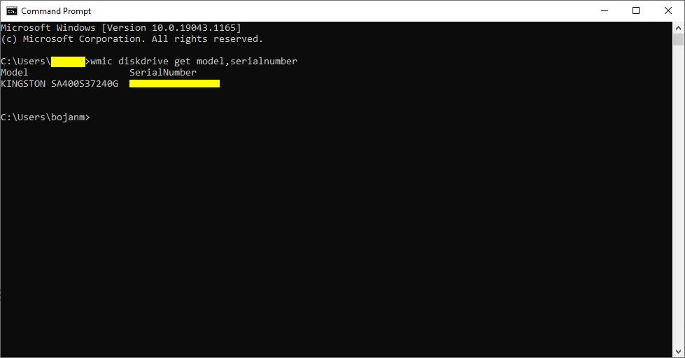 Windows 10 - Command Promp - Komanda za prikaz serijskog broja hard diska