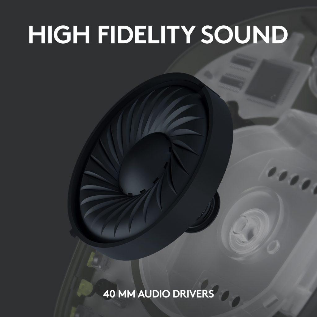 Logitech G435 LIGHTSPEED - zvučnici prečnika 40 mm